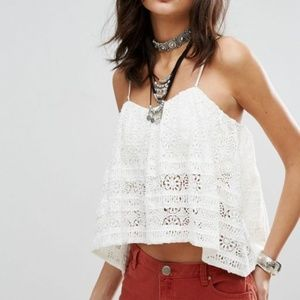 🆕Free People Lace White Crop Top